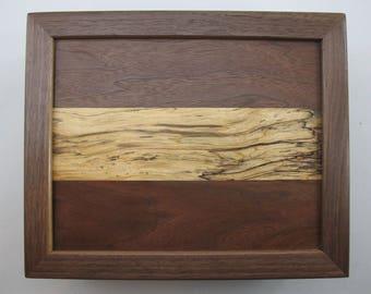 Spalted maple. panel in a .Black Walnut. box.Men's dresser valet. Ladies Dresser Jewelry case.Anniversary. Birthday Present. Retirement gift