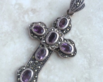 Vintage Amethyst Sterling Silver Cross Valentine's Day Easter Gift Jewelry