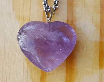 Amethyst Stone Heart Pendant Necklace / Valentine's Day Gift