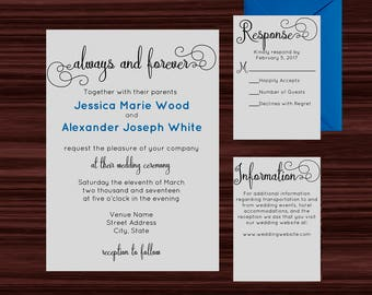 Always and Forever Wedding Invitations - Wedding Invitation Template - Invitation Kit - DIY Printable and Editable PDFs - Instant Download