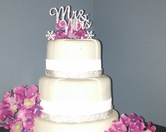 Set of 3 Silver Rhinestone Mr & Mrs Rhinestone Snowflake Cake Topper Wedding Cake Topper