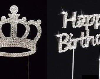Silver Rhinestone Happy Birthday with Princess Crown Cake Topper Set of 2