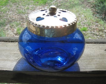Cobalt Blue Glass Jar, Silvertone Lid With Heart Design, 4 3/4 Inches In Diameter, Excellent Condition, 3 3/4 Inches High, Trinket Dish