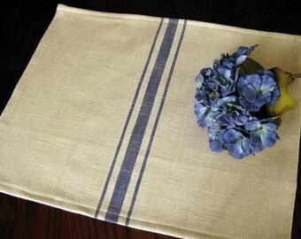 Farmhouse Grain Sack Placemats - Grainsack Placemats - Tan and Denim Blue Stripe