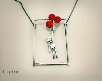 SIlver Necklace, Pendant, Boy, Balloon, Enamel, Red, Handmade, Contemporary, Jewelry, Sterling