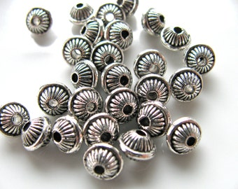 Metal beads, plated beads, 5x7mm, 26 beads, spacer beads, 1mm drill holes, Jewelry supply B-733
