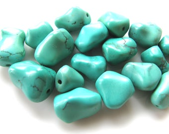 Turquoise beads, Chinese Turquoise, 17 beads, green Turquoise, free form, nuggets, Jewelry supply  B-1653
