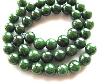 Green Jade beads, 26 beads, 8mm, 1mm drill hole, round beads, Jewelry supply  B 109