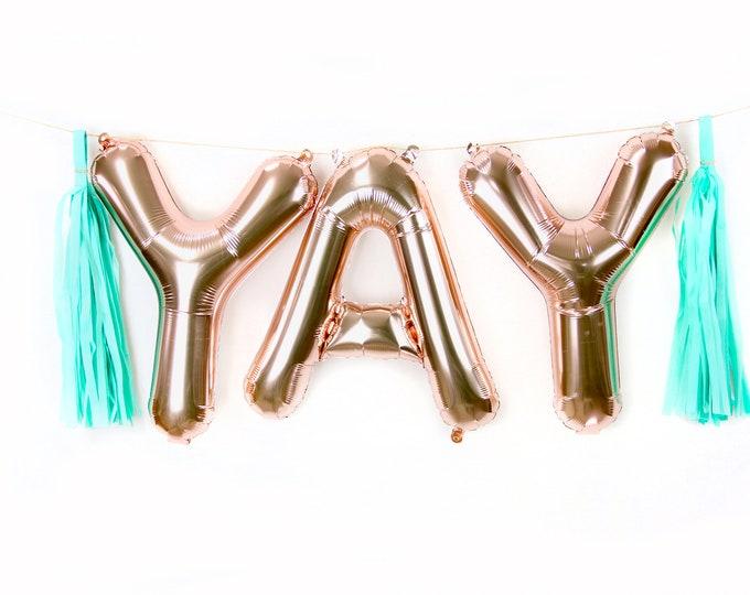 "16"" YAY Rose Gold Balloon, Letter Balloon, Rose Gold Balloon Banner, Yay Photo Prop, Wedding Photo Prop, Baby Shower, Bridal Shower Balloon"