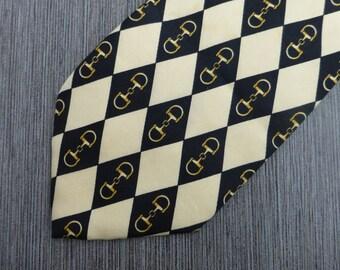 Vintage Paolo Gucci black ivory cream white gold silk necktie