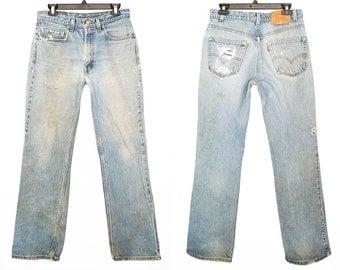 Vintage 517 Levis 32x32 Light Wash Denim Jeans Distressed Waist 32 Bootcut Mid-high Rise Zip Fly Levi 32 x 32