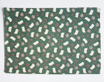 Placemats in a Sheep and Strawberry Pattern, Handmade