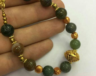 FREE Shipping Worldwide Afghan Natural Agate & Gold Plated Beads Bracelet 7.7 inches Handmade Bohemian Gemstone Jewelry