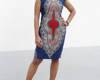 Blue Dashiki Pencil Dress