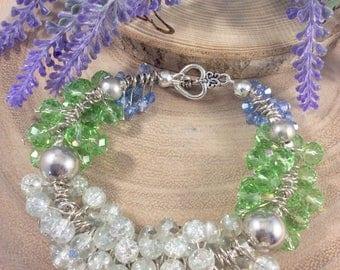 Beaded bracelet, Bracelet, Glass beads, Glass charm bracelet, Summer bracelet, Holiday, Vacation, Charm bracelet, Unique, Fashion, OOAK