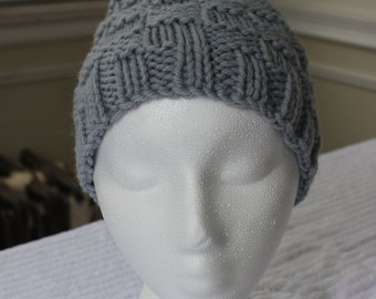 Hand-Knit Hat - Underwater Basketweaving in Steel Blue