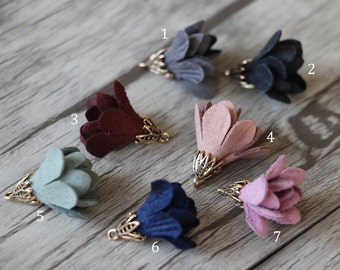 6pcs-Mini Flower Tassel Charms,Suede Leather Tassels,Vintage Leather Flower Pendants,Flower Earring Jewelry
