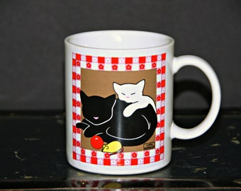 Sleeping Cats Gingham Mug, Black, White, Red, Pink, Floral, Snuggle, Linda Morgan, Made in Japan, Kitties, Best Friends, Coffee, Tea, Kitsch