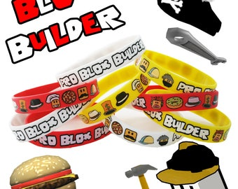 12 Pack - Pro Blox Builder Miner Video Game Truck Birthday Party Bracelets - Great Supplies Favors Goody Loot Bags Decorations