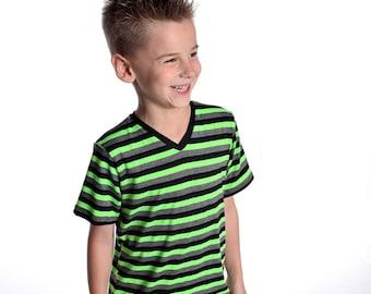 Lime Green Striped Shirt