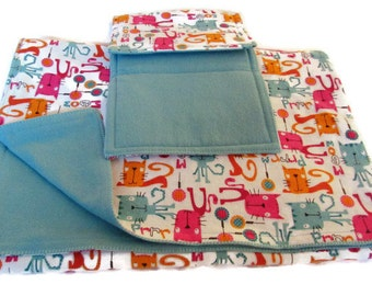 Baby Blanket Meowy Kitty Cat And Double Sided Burp Cloth Set Shower Gift