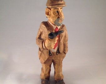 Hand Carved, Original, One of a Kind, Pipe Smoking Gentleman,  OOAK, Basswood , Political, Funny Gift, Special Gift , Christmas, Gift