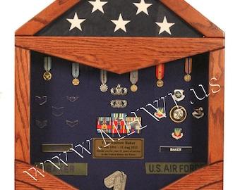 Air Force Technical Sergeant (E6) Shadow Box - 3x5 Flag