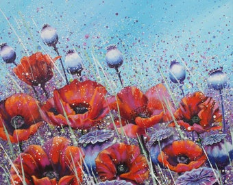 Poppy Meadow/original painting/large flower painting/poppy canvas/meadow painting/wall art/spattered/ floral/vibrant/bright/statement