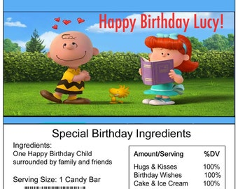 The Peanuts Movie birthday Candy Bar Wrapper