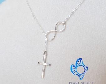 Cross necklace,Infinity necklace,infinity cross necklace,sterling silver Infinity Lariat,Cross Lariat