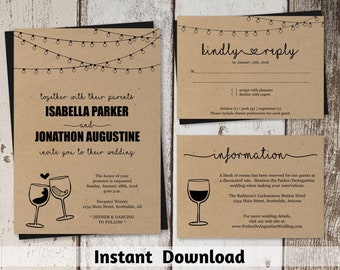 Wine Wedding Invitation Template - Rustic Winery Glass Toast / Vineyard Printable Set - Instant Download Digital File PDF Suite Kraft Paper