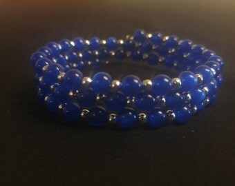 Deep Blue Memory Wire Cuff Bracelet with Metal Spacer Beads
