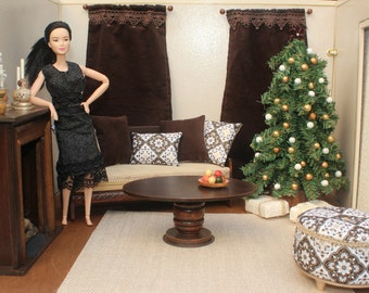 Barbie 1:6 Scale Dollhouse Accessories, Ottoman, Pillows, Curtains, Plants, Candlesticks, Chocolate Brown, Elegant