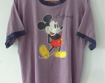 Rare Vintage MICKEY MOUSE Ringes Cartoon Tshirt Size L
