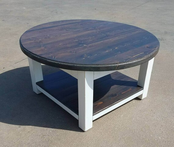 Round Farmhouse Coffee Table With Dark Walnut Stained Top And