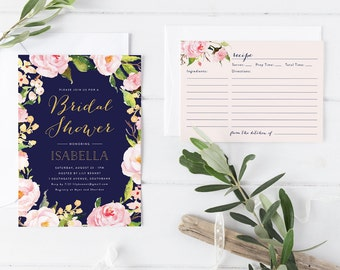 Printable Rose Pink Navy Bridal Shower Invitation Card with Matching Recipe Card