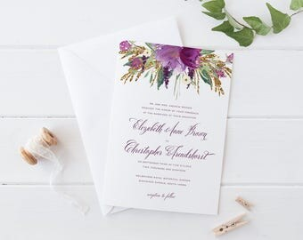 Purple Flower Wedding Invitation Set, Violet Flower Gold Glitter Wedding Invitation Set