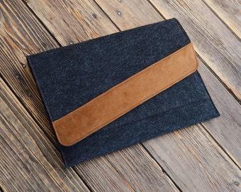 iPad case Handmade iPad 4 cover iPad 3 felt case iPad clutch Felt iPad bag Gift for her iPad bag Gift for man