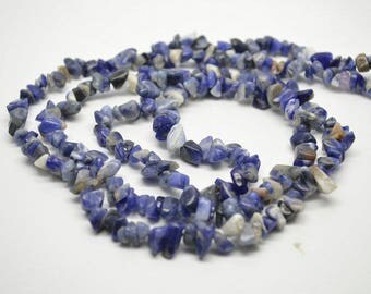 "1 strand 32"" length Natural Sodalite Stone Chips Loose Beads High Quality Jewelry making materials"