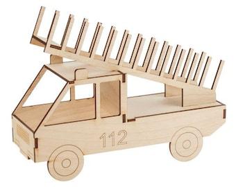 CD-Ständer Feuerwehr Auto Holz Handarbeit Bausatz