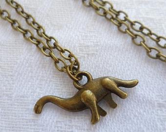 Dinosaur charm necklace,dinosaur jewellery,dinosaur pendant,prehistoric jewelry,gift,handmade,simple jewelry,animal jewellery,brontosaurus