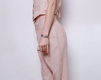 Handmade//One of a Kind//Mint Condition Peachy Pink Vest Pant Suit