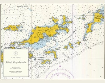 British Virgin Islands Map (BVI) - 1962