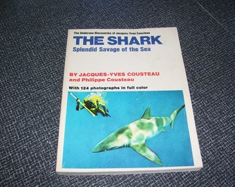 The Shark Splendid Savage of the Sea by Jacques Cousteau Pb 1970 Vintage