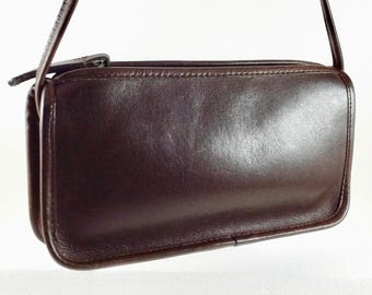 Vintage Coach Zippered Pouch - Dark Brown Glove Tanned Leather