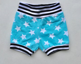 mint & b/w stripe baby shorties, baby blue baby shorts, baby blue shorts clothes, baby boy shorts, baby boy star shorts, baby boy blue short