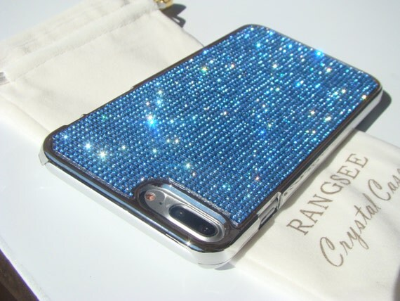 iPhone 7 Plus Blue Sapphire Diamond Rhinestone Crystals on Silver Chrome Case. Velvet Pouch Included, Genuine Rangsee Crystal Cases