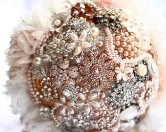Vintage Blush Brooch Bouquet - Bridal Bouquet - Keepsake Bouquet - Custom Bouquet - Wedding Bouquet - Rose Gold Bouquet