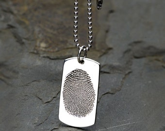 Sterling Silver Dog Tag, Fingerprint Dog Tag, Fingerprint Engraving, Personalized Jewelry, Dog Tag Necklace Custom,