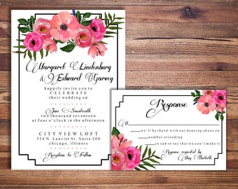 Watercolor Floral Wedding Invitation and Response Card